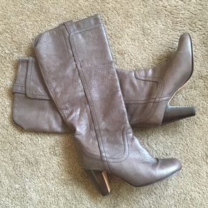 Dolce Vita Wiley Tall Leather Taupe Heeled Boots 9